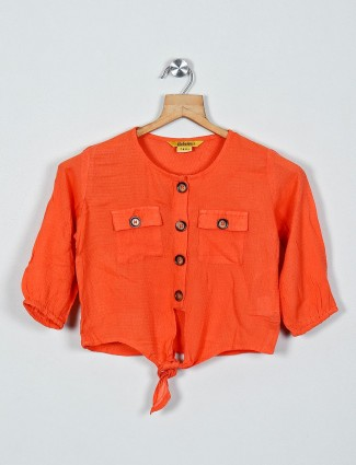 Global Desi cotton orange solid top with quarter sleeves