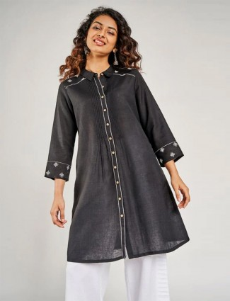 Global Desi latest black cotton casual wear top for women