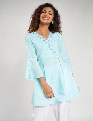 Global Desi latest sea green casual wear western top