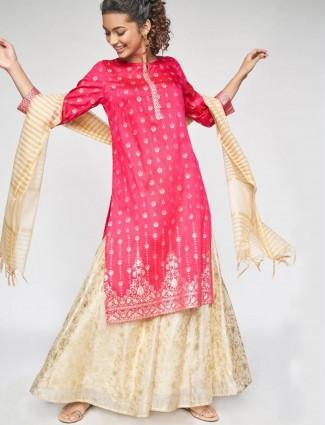Global Desi magenta stunning printed cotton casual wear kurti