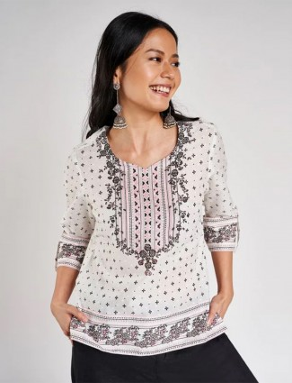 Global Desi off white casual wear top for women in cotton