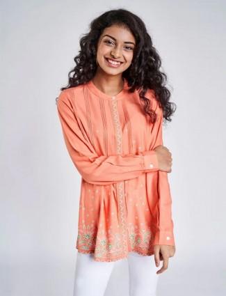 Global Desi peach casual wear designer western top for women