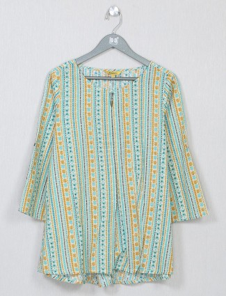 Global Desi printed off-white casual top