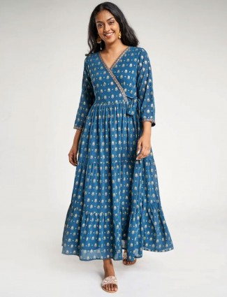Global desi Teal Floral Printed Fit And Flare Dress