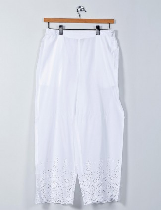 Global Desi white cotton palazzo pant for women