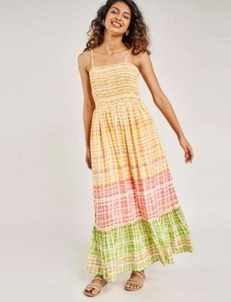 Global desi Yellow Geometric Printed Smocking Dresse