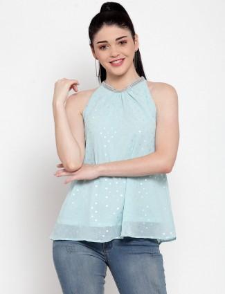 Global Republic latest aqua georgette casual top for women