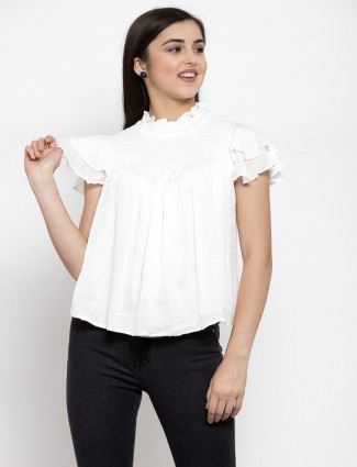 Global Republic white cotton casual top for women