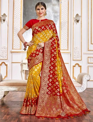 Gold and red bandhej geoegette saree for weddings