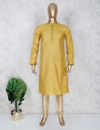 Gold color cotton festive occasion kurta suit
