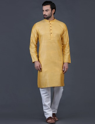 Gold cotton kurta suit festive wear