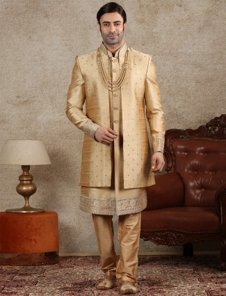 Gold jacket style indo western for wedding function