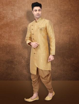 Gold raw silk fabric semi indo western