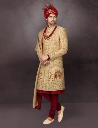 Gold silk designer sherwani for wedding