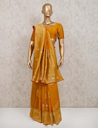 Gold silk festive wear saree
