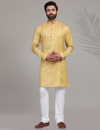 Gold solid cotton silk kurta suit