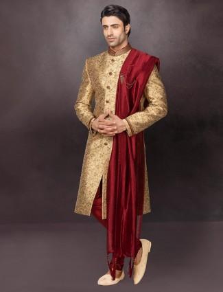 Gold terry rayon mens indo western wedding wear