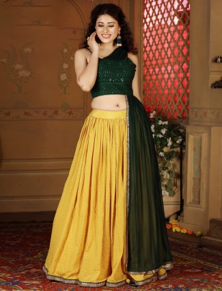 Gorgeous green and yellow cotton silk party wear lehenga choli