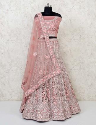 Gorgeous peach wedding semi stitched lehenga choli