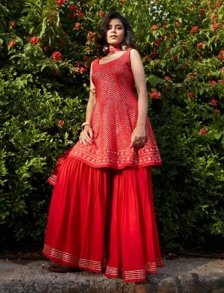 Gorgeous red georgette punjabi style wedding wear sharara suit