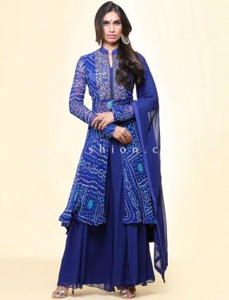 Gorgeous royal blue georgette festive wear palazzo suit