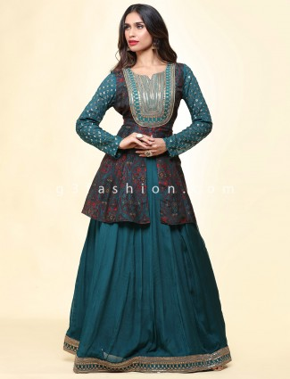Gorgeous teal blue cotton festive wear lehenga suit