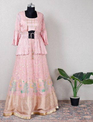 Gorgeous wedding wear pink silk lehenga for women