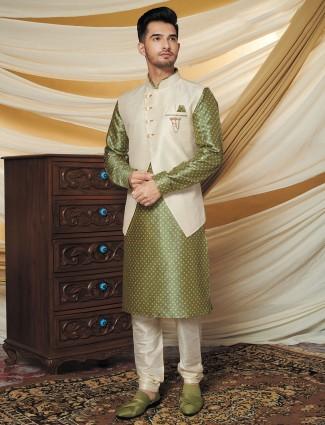 Green and cream printed raw silk waistcoat set