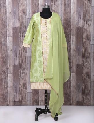 Green color silk suit