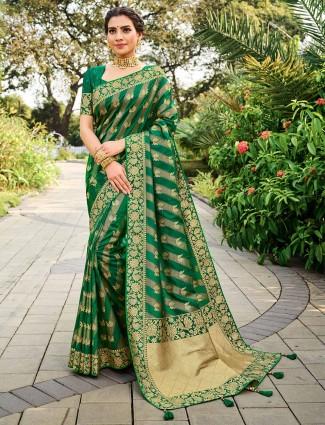 Green colour banarasi silk for wedding function