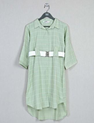 Green cotton checks casual top