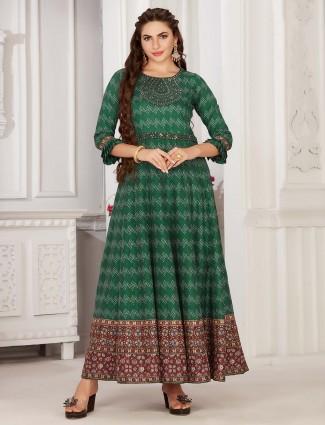 Green cotton festive session printed kurti