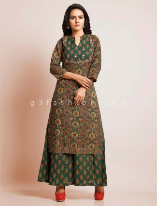 Green cotton palazzo suit for festive