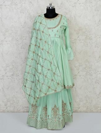Green cotton punjabi lehenga choli for festive