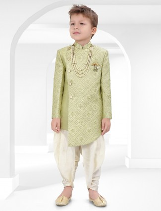Green cotton silk boys indo western