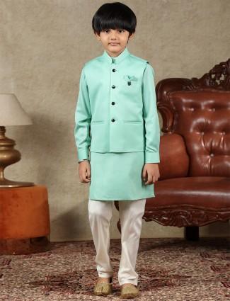 Green cotton silk boys waistcoat set