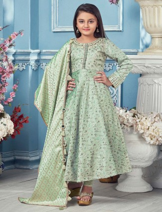 Green cotton silk fabric party occasion anarkali suit