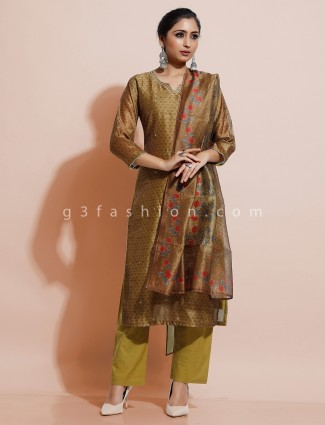 Green cotton silk festive get together kurti set
