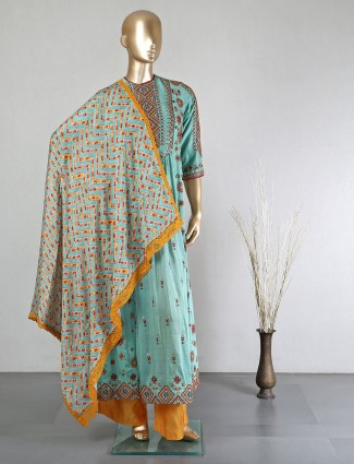 Green cotton silk palazzo suit for festive days