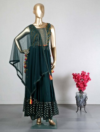Green georgette palazzo suit for wedding