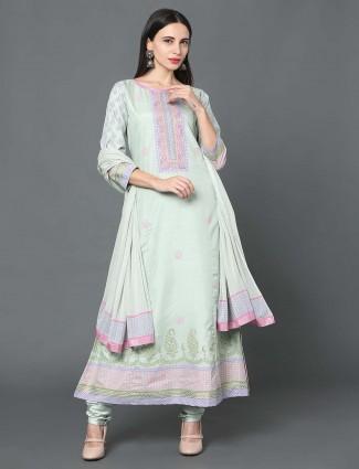 Green hue chanderi silk festive punjabi salwar suit