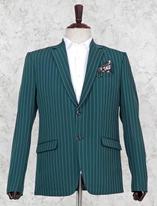 Green hue two buttoned placket stripe blazer