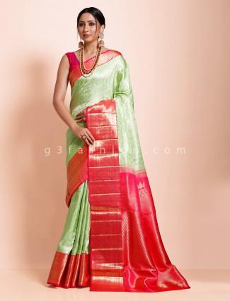Green kanjivaram silk wedding function exclusive saree