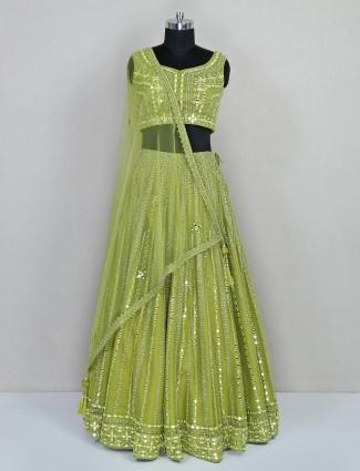 Green net lehenga choli for wedding session
