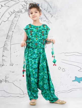 Green pant style suit for girls in georgette