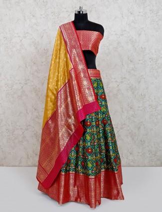 Green patola silk wedding wear lehenga choli
