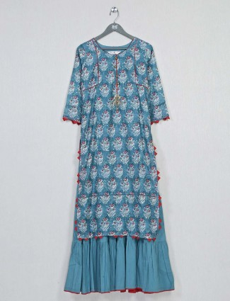 Green printed cotton kurti for casual look