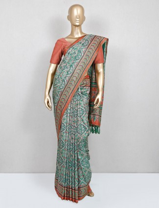 Green printed saree for women