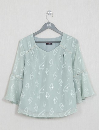 Green printed womens cotton top