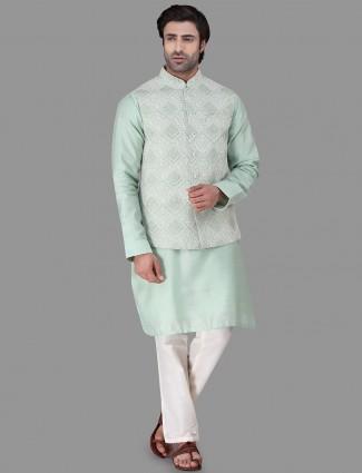 Green raw silk chikan style waistcoat set
